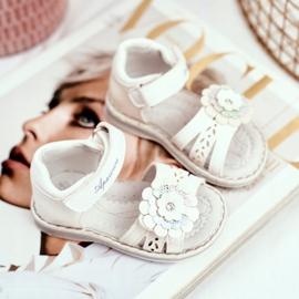 Apawwa Sandale pentru copii cu Velcro Flower White Mino alb multicolor galben 2