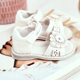 Apawwa Sandale pentru copii cu Velcro Flower White Mino alb multicolor galben 3
