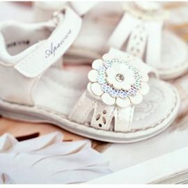 Apawwa Sandale pentru copii cu Velcro Flower White Mino alb multicolor galben 4