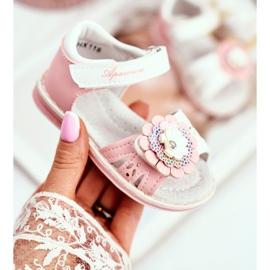 Apawwa Sandale pentru copii cu Velcro Flower Pink Mino roz 3