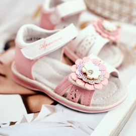 Apawwa Sandale pentru copii cu Velcro Flower Pink Mino roz 2