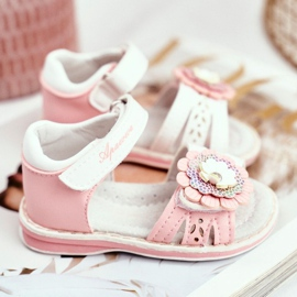 Apawwa Sandale pentru copii cu Velcro Flower Pink Mino roz 4