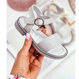 Apawwa Sandale pentru copii cu Velcro Silver Brocade Verden gri 1