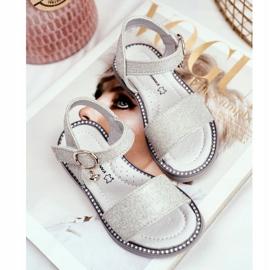 Apawwa Sandale pentru copii cu Velcro Silver Brocade Verden gri 3