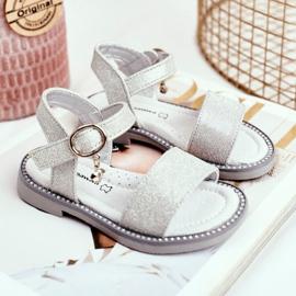 Apawwa Sandale pentru copii cu Velcro Silver Brocade Verden gri 2