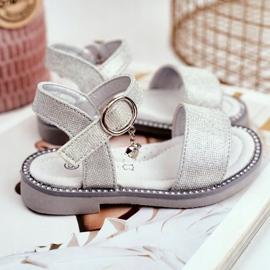 Apawwa Sandale pentru copii cu Velcro Silver Brocade Verden gri 4