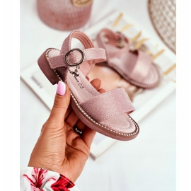 Apawwa Sandale pentru copii cu velcro roz Verden Brocade 1