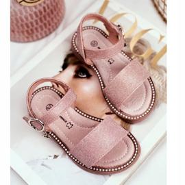 Apawwa Sandale pentru copii cu velcro roz Verden Brocade 3