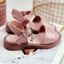 Apawwa Sandale pentru copii cu velcro roz Verden Brocade 2