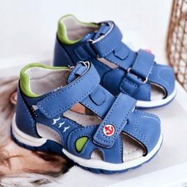 Apawwa Sandale pentru copii cu velcro albastru Nubira 1