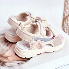 PL1 Sandale pentru copii cu velcro Beżowe Grobino bej 3