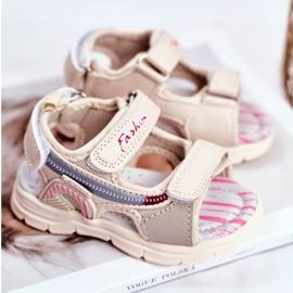 PL1 Sandale pentru copii cu velcro Beżowe Grobino bej 2