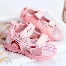 PL1 Sandale pentru copii cu velcro roz Grobino 2