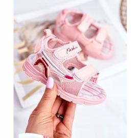 PL1 Sandale pentru copii cu velcro roz Grobino 1