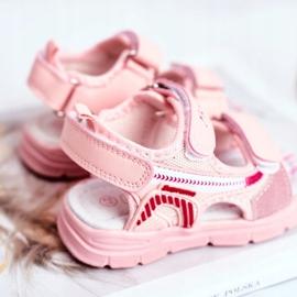 PL1 Sandale pentru copii cu velcro roz Grobino 3