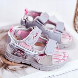 PL1 Sandale pentru copii cu velcro gri Grobino roz 2