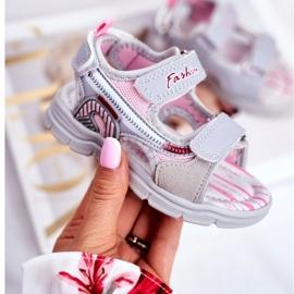 PL1 Sandale pentru copii cu velcro gri Grobino roz 1