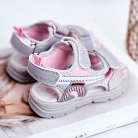 PL1 Sandale pentru copii cu velcro gri Grobino roz 3
