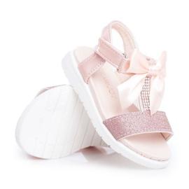 FRROCK Sandale pentru copii cu velcro pentru fete șampanie Bella multicolor roz 4