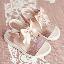FRROCK Sandale pentru copii cu velcro pentru fete șampanie Bella multicolor roz 1