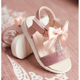 FRROCK Sandale pentru copii cu velcro pentru fete șampanie Bella multicolor roz 2