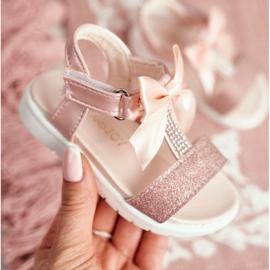 FRROCK Sandale pentru copii cu velcro pentru fete șampanie Bella multicolor roz 3