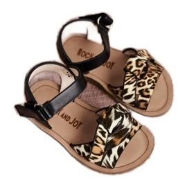 FRROCK Sandale pentru copii cu velcro Panterka Mimi maro negru portocale 3