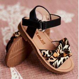 FRROCK Sandale pentru copii cu velcro Panterka Mimi maro negru portocale 4