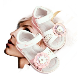 Apawwa Sandale pentru copii cu Velcro Flower Pink Mino alb roz 1