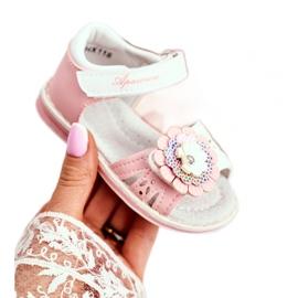Apawwa Sandale pentru copii cu Velcro Flower Pink Mino alb roz 3