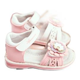 Apawwa Sandale pentru copii cu Velcro Flower Pink Mino alb roz 4