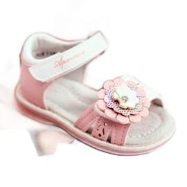 Apawwa Sandale pentru copii cu Velcro Flower Pink Mino alb roz 2