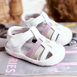 Apawwa Sandale pentru copii cu Velcro Glitter Alb Ontario roz de aur 1