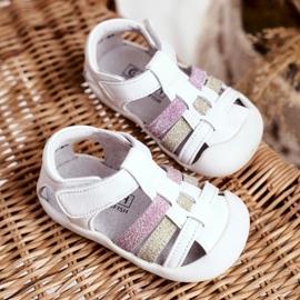 Apawwa Sandale pentru copii cu Velcro Glitter Alb Ontario roz de aur 2