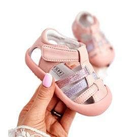 Apawwa Sandale pentru copii cu Velcro Glitter Pink Ontario roz gri 1