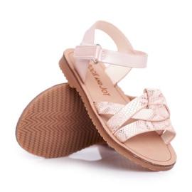 FRROCK Sandale pentru copii cu velcro pentru fete roz Lilo galben 4