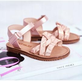 FRROCK Sandale pentru copii cu velcro pentru fete roz Lilo galben 3