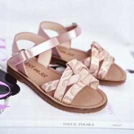 FRROCK Sandale pentru copii cu velcro pentru fete roz Lilo galben 1