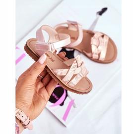 FRROCK Sandale pentru copii cu velcro pentru fete roz Lilo galben 2