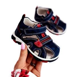 Apawwa Sandale pentru copii cu Velcro Navy Goreno roșu albastru marin 1