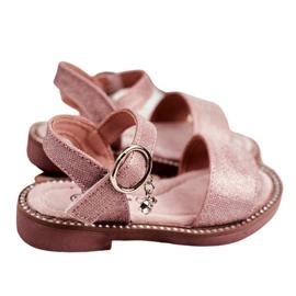 Apawwa Sandale pentru copii cu velcro roz Verden Brocade 4