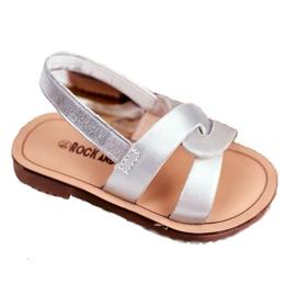 FRROCK Sandale Slip-on pentru copii cu bandă elastică Silver Bambino gri 5