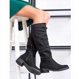Sweet Shoes Cizme din piele de căprioară negru 1
