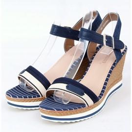 Sandale bleumarin pe pene A89832 Albastru 1