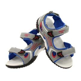 American Club Sandale cu talpă din piele roșu albastru gri 4