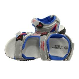 American Club Sandale cu talpă din piele roșu albastru gri 3