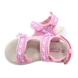 American Club Sandale roz. Branț din piele violet 4