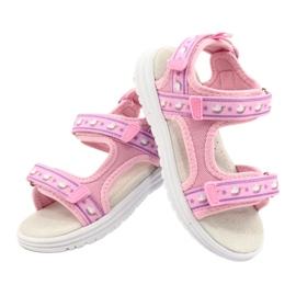 American Club Sandale roz. Branț din piele violet 5