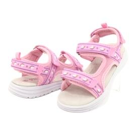American Club Sandale roz. Branț din piele violet 3