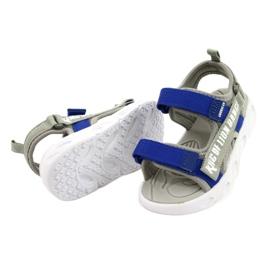 American Club Sandale gri pentru băieți cu velcro RL27 / 21 albastru 2